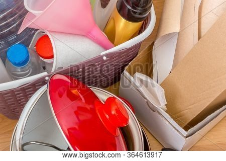 Trash Should Be Sorted Separately For Recycling. Paper, Metal, Plastic.