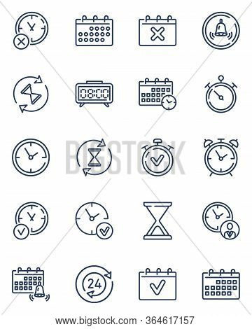 Simple Calendars And Clocks Thin Outline Icon Set. Timekeeper, Stopwatch, Timers, Alarm Clock, And H