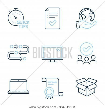 Approved Checklist, Open Box And Monitor Line Icons Set. Diploma Certificate, Save Planet, Group Of