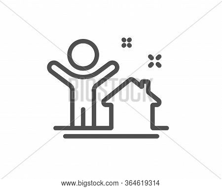 New House Line Icon. Home Building Sign. Buying Real Estate Symbol. Buyer And His Property. Quality