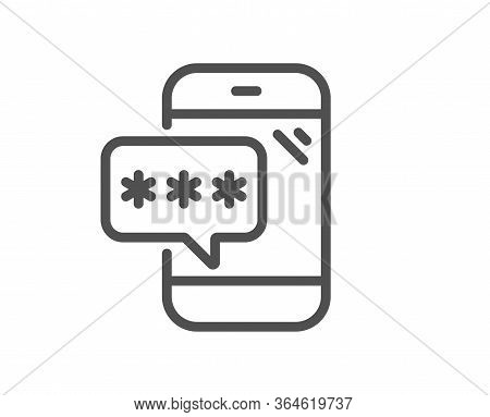 Phone Password Line Icon. Cyber Defence Sign. Mobile Protection Symbol. Quality Design Element. Edit