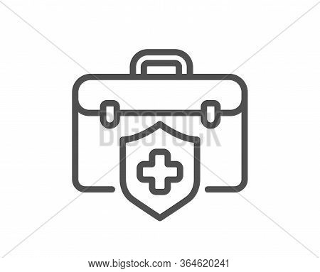 Medical Insurance Line Icon. Health Coverage Sign. Protection Policy Symbol. Quality Design Element.