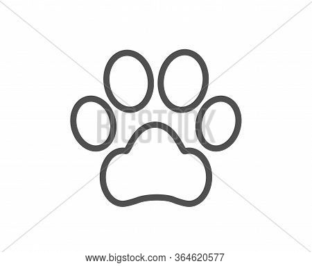 Dog Paw Line Icon. Pets Care Sign. Animal Step Symbol. Quality Design Element. Editable Stroke. Line