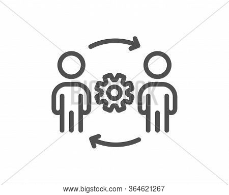 Engineering Team Line Icon. Engineer Or Architect Group Sign. Working Process Symbol. Quality Design