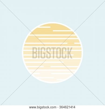 Sun Shining Symbol Icon Sticker Styled Design. Vector Illustration Eps 10
