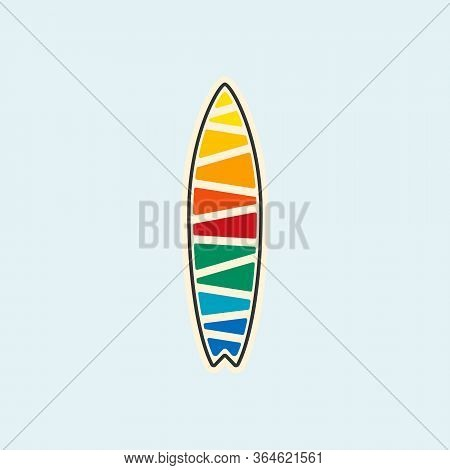 Surfing Emblem Template, Surfboard Silhouette With Lettering Vector Eps 10