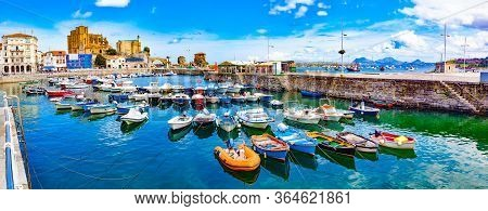 Fishing Village And Boat Dock. Scenic Seascape.tourism In Spain.coastal Towns Of Spain.castro Urdial