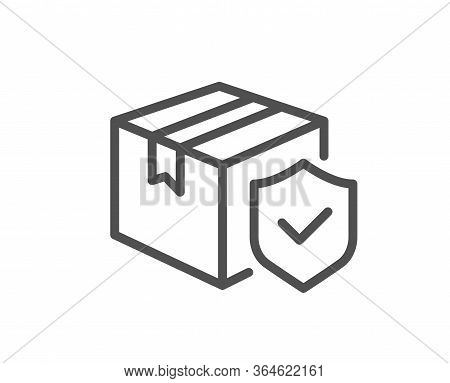 Parcel Insurance Line Icon. Risk Coverage Sign. Package Delivery Protection Symbol. Quality Design E
