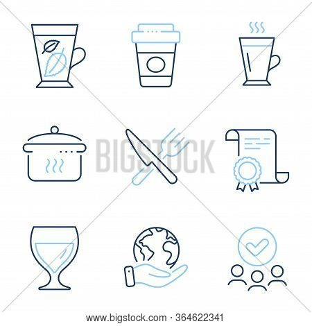 Latte, Mint Leaves And Takeaway Coffee Line Icons Set. Diploma Certificate, Save Planet, Group Of Pe