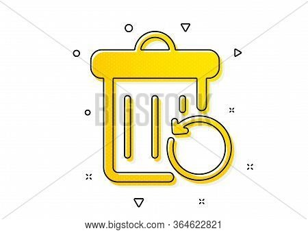 Backup Data Sign. Recovery Trash Bin Icon. Restore Information Symbol. Yellow Circles Pattern. Class
