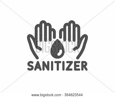 Hand Sanitizer Icon. Sanitary Cleaning Sign. Washing Hands Symbol. Classic Flat Style. Quality Desig
