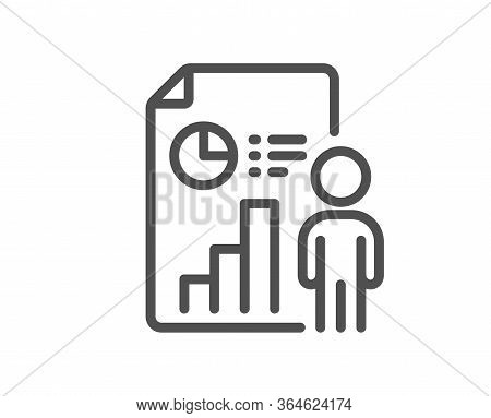 Business Report Line Icon. Employee Results Sign. Organization Statistics Symbol. Quality Design Ele