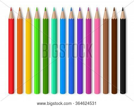 Color Pencils On White Background. Red, Blue, Green, Yellow Wooden Pencil For School Education. Draw