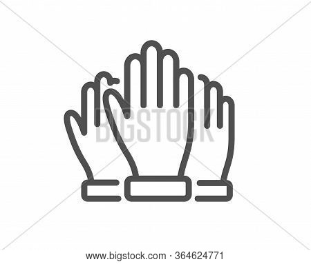 Vote Hands Line Icon. Election Voting Sign. Volunteers Or Referendum Symbol. Quality Design Element.