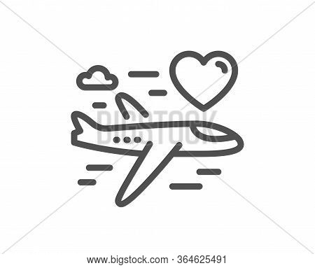Honeymoon Travel Line Icon. Love Trip Sign. Valentines Day Flight Symbol. Quality Design Element. Ed