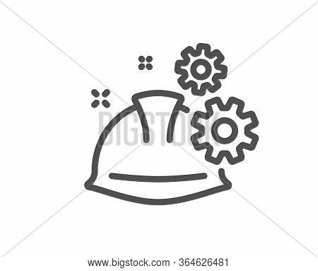 Engineering Working Process Line Icon. Engineer Or Architect Helmet Sign. Industrial Job Symbol. Qua
