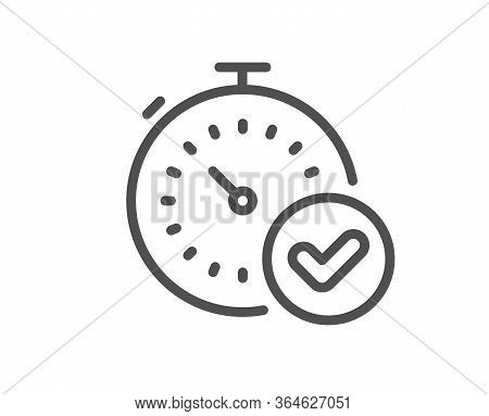 Fast Verification Line Icon. Approved Timer Sign. Confirmed Time Symbol. Quality Design Element. Edi