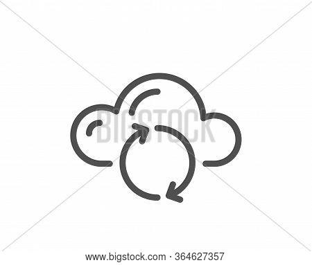 Cloud Computing Sync Line Icon. Internet Data Storage Sign. File Hosting Technology Symbol. Quality