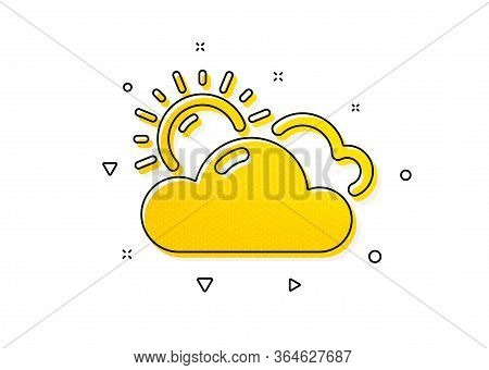 Clouds With Sun Sign. Sunny Weather Forecast Icon. Cloudy Sky Symbol. Yellow Circles Pattern. Classi