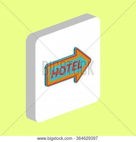 Hotel Neon Arrow Simple Vector Icon. Illustration Symbol Design Template For Web Mobile Ui Element.