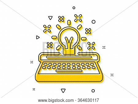 Creativity Sign. Typewriter Icon. Inspiration Light Bulb Symbol. Yellow Circles Pattern. Classic Typ