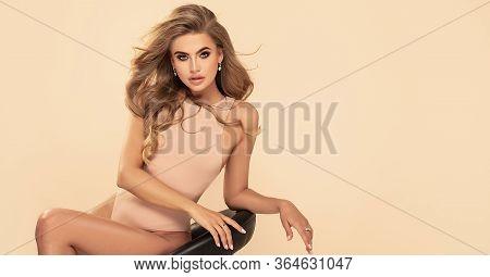 Sensual Blonde Woman In Studio.
