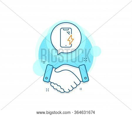 Phone Charge Sign. Handshake Deal Complex Icon. Smartphone Charging Line Icon. Mobile Device Energy