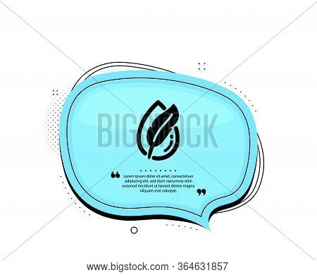 Hypoallergenic Tested Icon. Quote Speech Bubble. Feather Sign. No Synthetic Symbol. Quotation Marks.