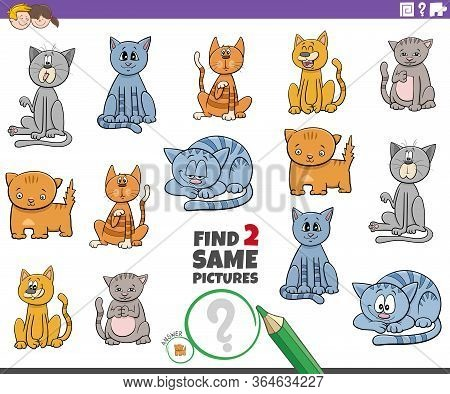 Cartoon Illustration Of Find Two Same Pictures Educational Task For Children With Cats And Kittens A