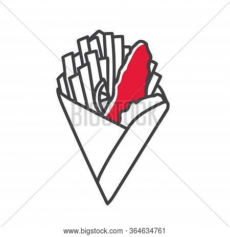 Vector Illustration Fish And Chips. Traditional English Fast Food In The Doodle Style. French Fries,