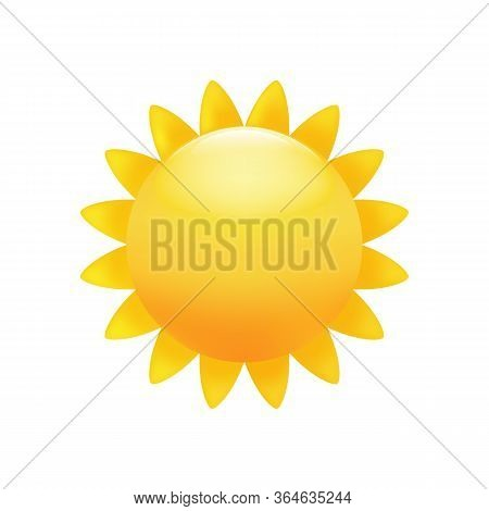 Sun Bright Yellow Emoticon, Heat, Warm Symbol.  Premium Vector.