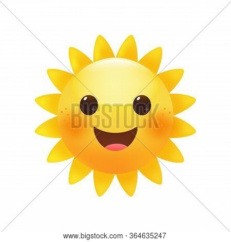 Sun Bright Yellow Emoticon, Cute Happy Summer Face.  Premium Vector.