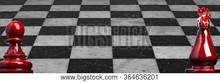Image Of A Wooden Chess Pawn And Knight In Red With Marble Checkerboard Background