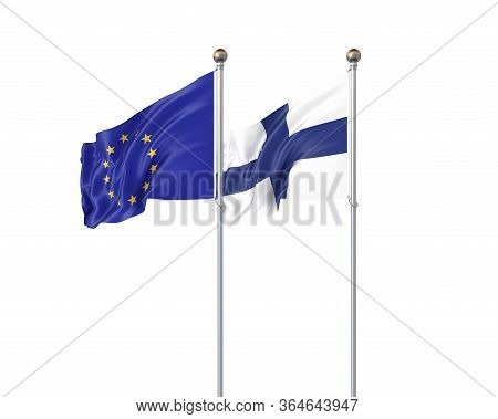 Two Realistic Flags. 3d Illustration On White Background. European Union Vs Finland. Thick Colored S