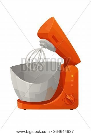 Red Stand Mixer Isolated On White Background For Kitchen Vector