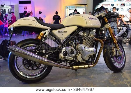 Pasig, Ph - March 9 -norton Commando 961 Cafe Racer Motorcycle At Ride Ph Motorcycle Show On March