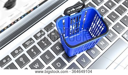 shopping basket of blue color on a keyboard of a laptop, concept of e-commerce and online shopping. 3d render nobody around.