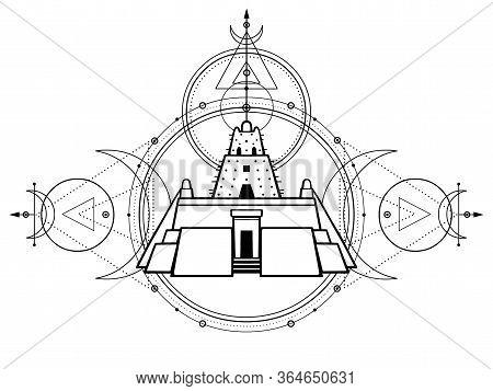 Mystical Drawing - An Ancient Ziggurat, Lunar Symbols, Energy Circles, Sacred Geometry. Alchemy, Mag