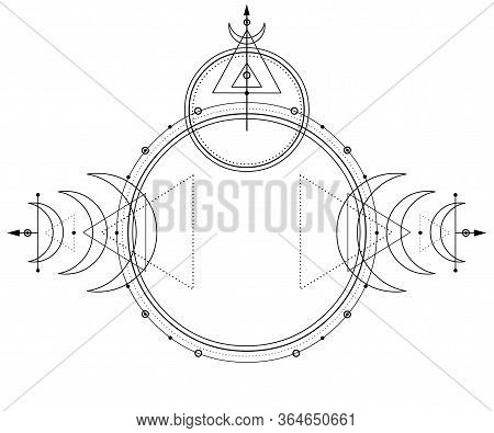 Mystical Drawing: Circles, Triangles, Moon, Scheme Of Energy. Sacred Geometry. Alchemy, Magic, Esote