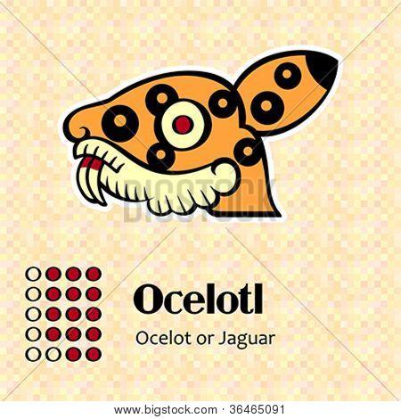 Aztec calendar symbols - Ocelotl or jaguar (14)