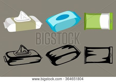A Set Of Three Packs Of Wet Wipes, In Two Versions Color And Black And White. Vector Illustration.