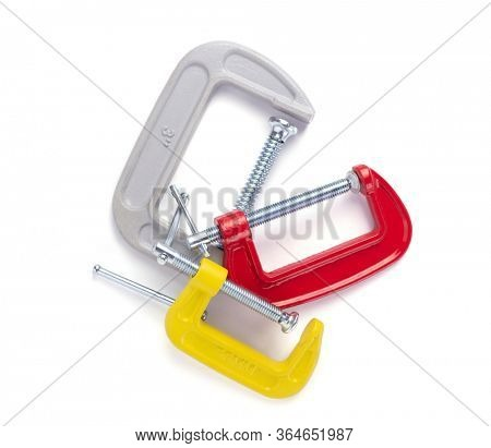 metal clamp or c-clamp isolated on white background, top view