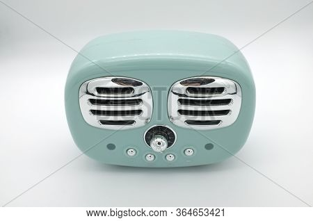 Grungy Retro Green Speaker  On Isolated White Background