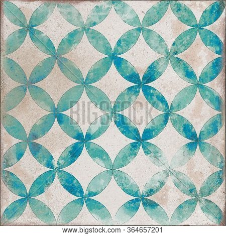 Antique Traditional Portugal Pattern Decor Tile, Moroccan Pattern Mosaic Tile, Decor Pattern Tile, H