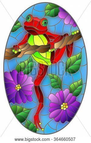 Illustration In Stained Glass Style With Bright Red Frog On Plant Branches Background With Flowers A