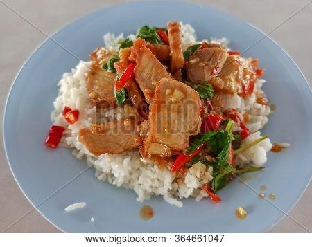 Rice And Stir-fried Crispy Pork And Basil
