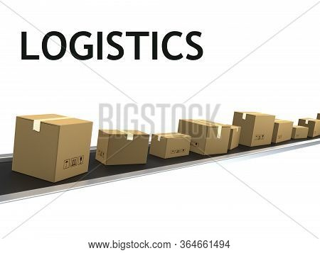 3d Illustration Of Conveyor Belt Loaded With Cargo Boxes, Isolated Over White Background.