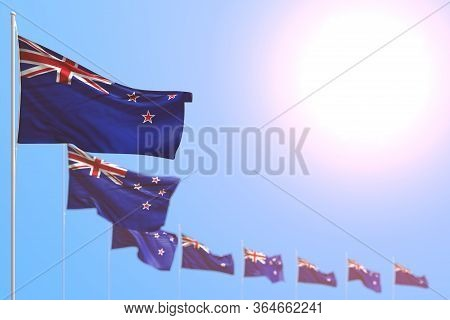 Wonderful Many New Zealand Flags Placed Diagonal With Soft Focus And Empty Place For Your Content -