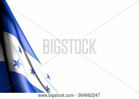 Wonderful Isolated Image Of Honduras Flag Hangs In Corner - Mockup On White With Space For Your Cont