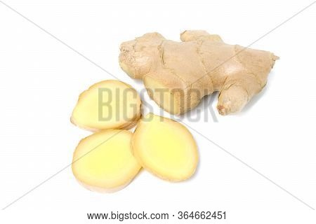 Fresh Ginger Rhizome With Sliced Isolated On White Background, Herb Medical Concept